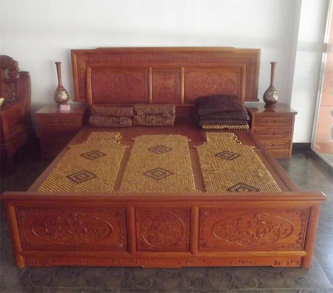 鸳鸯戏水床 - 卧室系列 - 新余红木家具|新余古典家具